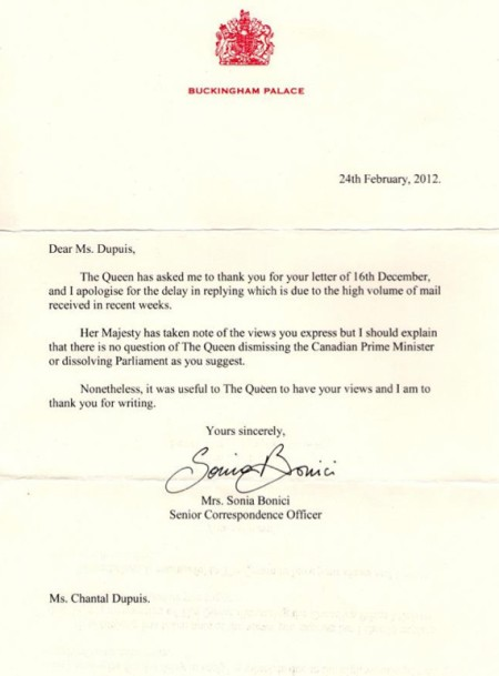 The Queen's letter to Chantal Dupuis