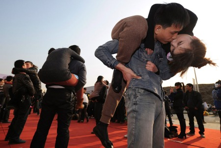 Kissing contest in Hefei, Anhui province, China